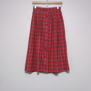 Vintage red plaid long (maxi) skirt size 8
